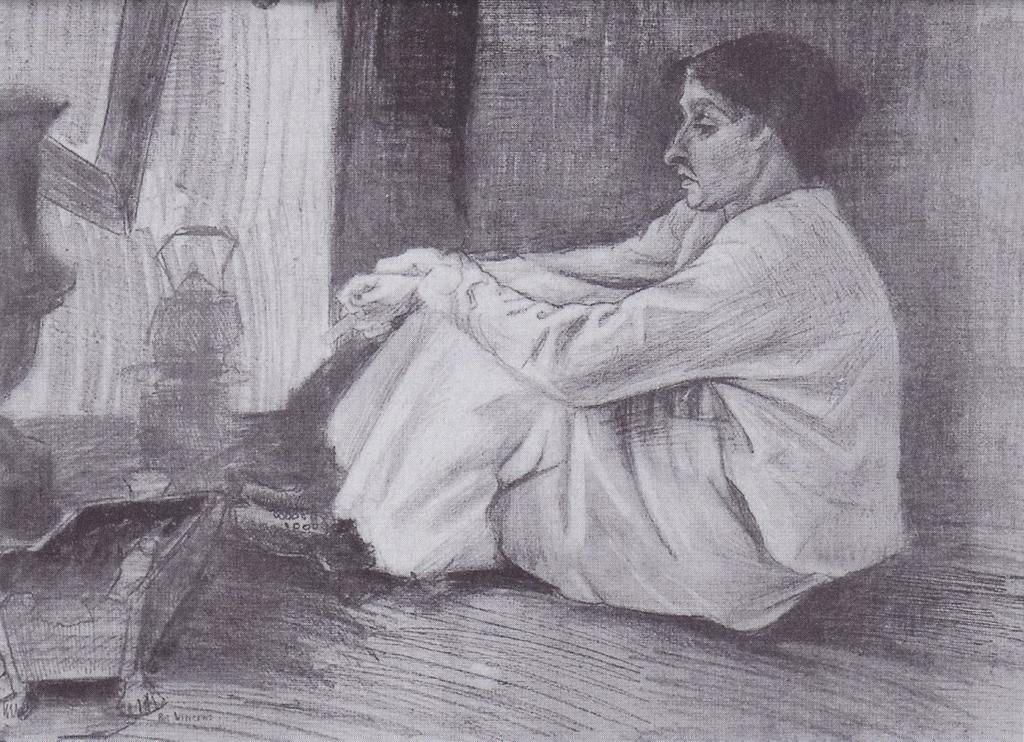 Vincent van Gogh, Zittende vrouw ('Sien') bij de kachel, 1882 (Museum Kröller-Müller Otterlo)
